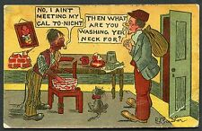 Posted 1913 Comic/Cartoon Card - Two Men 'What are you washing yer neck for?'