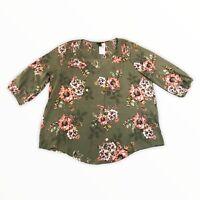 Torrid Green Floral Blouse, 3/4 Sleeves, Lightweight Women's Size 2XL