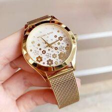 Michael Kors MK4383 Womens Slim Runway Gold Tone St St White Floral Dial Watch