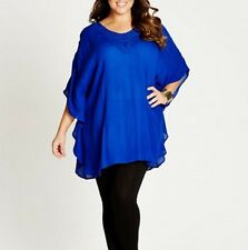 Plus Size Ladies Blue Poncho Style Top With Crochet Neck Line Size 16 FREE POST