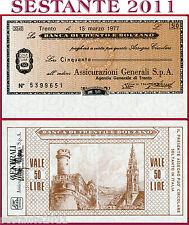 BANCA DI TRENTO E BOLZANO  LIRE 50 15.3. 1977 ASSICURAZIONI GENERALI - FDS B174