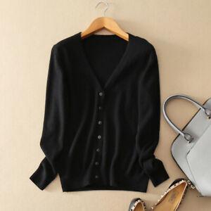 Womens Ladies Slim elastic Knitted Cardigan V-Neck Cashmere wool Jumper Swea FH