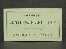 Antique Free Mason Masonic Party Admission Ticket Fraternal Fraternity Card