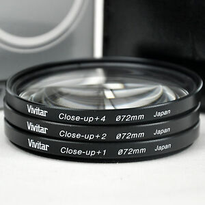 New Vivitar 72mm Glass Close-up lens Kit +1 +2 +4  with Carry Case Made in Japan