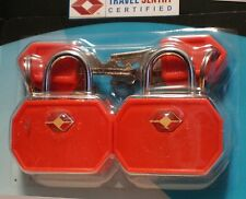 "NEW ""PASSAGE 2"" TSA TRAVEL LOCKS - SET OF 2 KEYED - HOT ORANGE"