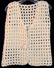 Vintage Cream Wool Knit Open Cut Womens Vest with Pom Pom Tie Sz Small