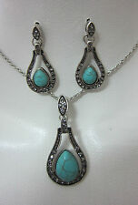 NECKLACE & EARRINGS FASHION SET TORQUOISE CRYSTALS GEMSTONE TIBET SILVER