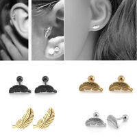 1pc Stainless Steel Feather Cartilage Helix Tragus Barbell Bar Ear Stud Earrings