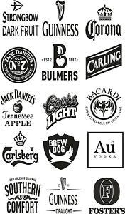 15 mixed beer, CIDER, IMAGE VINYL  STICKER, DECOR,GARDEN BAR KEG GIN 100 x 100mm