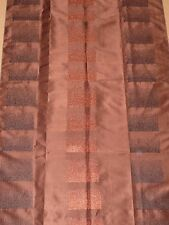"""Chocolate brown fabric remnant 70x115cm (28x46"""") terra black embroidered pattern"""