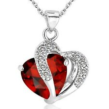Fashion Women Heart Crystal Rhinestone Silver Chain Pendant Necklace Jewelry New