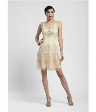 SUE WONG 1920s Fringe Flapper Dress GATSBY V-neck Oyster Ivory Size 0 N4137 $478
