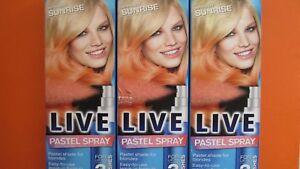 Schwarzkopf Live Pastel Spray Apricot Sunrise 125ml x 3 Bottles Freepost