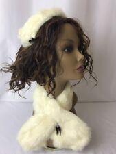 Vtg Real Fur Rabbit Winter Headband Hat Scarf Set Art Deco 40s Women Small Girls