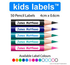 Kids Labels -> Qty  50 x Pencil Labels  Back to School  Personalised Stickers