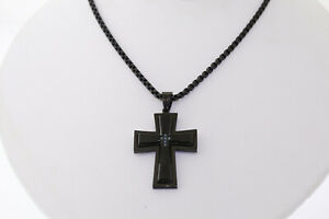 Shaquille O'Neal Black Stainless Steel Enhanced Blue Diamond Cross Necklace