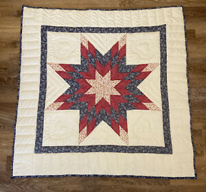 Handmade Quilted Wall Hanging Quilt ~ Lap Quilt 40x40 Star & Heart ~ Blue Pink