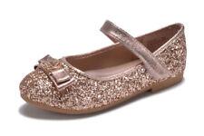 New Girls Rose Gold Silver Flats Metallic Glitter Dress Shoes Wedding Kids Party
