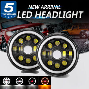 "Pair 300W 7"" LED Projector Headlights White  Angel Eyes For Jeep Wrangler JK"