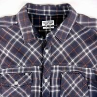 All Saints Mens Button Front Flannel Plaid Shirt Size Small 100% Cotton