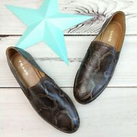 Trask Ali Slip On Loafers Size 9.5 Reptile Snake Python New Shoes Women's Italy