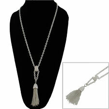 White Metal Matte Silver Tone Fringe Tassel Necklace Long Chain 30""