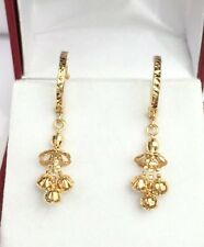 18k Solid Yellow Gold Cute Ball Dangle Hoop Earrings, Diamond Cut 2 Grams