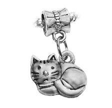 Cat Kitten Curled Up Kitty Pet Animal Dangle Charm for European Bead Bracelets