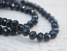 60 pce Black Faceted Crystal Cut Abacus Glass Beads 10mm x 7mm