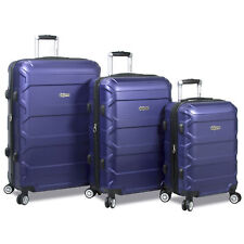 Dejuno Logan 3-Piece Hardside Spinner Combination Lock Luggage Set - Navy
