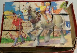 Vintage 1960's  Wooden Block Cube Picture Puzzle 12 cubes 6 sides READ