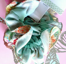 Japanese Two Layers Lace Chiffon Scrunchy Hair Ties Pastel Flowers Mix Aqua