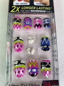Kiss imPRESS 24 Short Press-On Nails VAMP IT UP Pink Blue Green Black Charms New