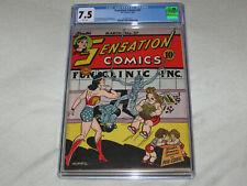 Sensation Comics #27 CGC 7.5 VF- Rare White Pages! Golden Age Wonder Woman!