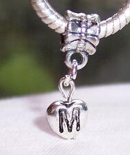 Letter M Heart Alphabet Initial Dangle Bead fits Silver European Charm Bracelets