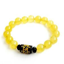 Yellow Agate Gem Buddha Word Tibet Buddhist Prayer Beads Stretch Mala Bracelet