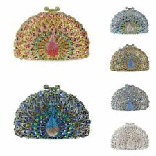 Lady Women Beauty Unique Design Peacock Rhinestones Handbag Clutch Bag Chain