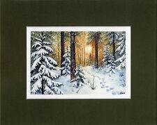 Watercolor Original Painting a Day Landscape Winter Sunset by Elena Mezhibovsky