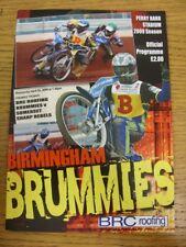 22/04/2009 Speedway Programme: Birmingham v Somerset [Premier Trophy] (results n