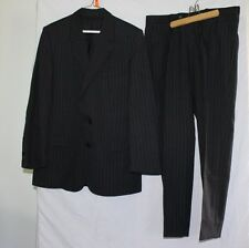 MENS 100% WOOL BLACK PIN STRIPED JACK FRASER CLASSIC 2 BUTTON SUIT SIZE 36