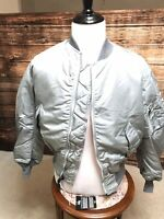USAF MA1 Reversible Vintage Flyers Jacket By Greenbrier Ind. NIP MEDIUM SILVER