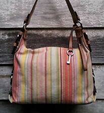 FOSSIL Multi Red Pink Green Turquoise Striped CANVAS Zip HOBO Shoulder Bag M