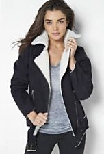 Zipped Borg Biker Jacket by Adore Faux Suede/Fleece Warm Black Size 12