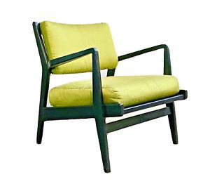 Jens Risom Vtg Mid Century Danish Modern Walnut Wood Lounge Arm Chair Knoll DWR
