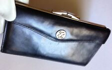BOSCA Women's Black Leather Envelope Clutch Wallet / Checkbook Holder with Coin