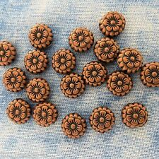 Antique Copper Alloy Metal Flowery Round Beads 12 Pieces  7.3mm  #0546