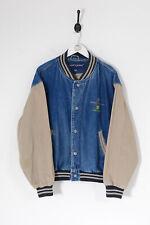 Vintage Hommes 90s Jeans Veste Université Bleu Foncé (L)