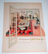 Vintage 1957 Gold Seal Flooring Print Ad — Great Modern '50s Kitchen Look!