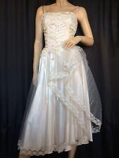 corset Bridal wedding Dress tulle Satin sleeveless Fit & Flare midi Paris lace L