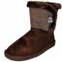 New women's shoes mid shaft boot faux fur lining suede like winter warm Brown